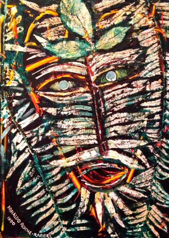 Arnaldo Roche Rabell - Selfportrait 1990 - Oil on canvas - neo-expressionist