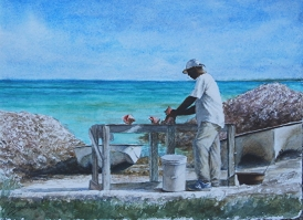 'Conch Stand' by Sheldon Saint. Watercolor on paper.