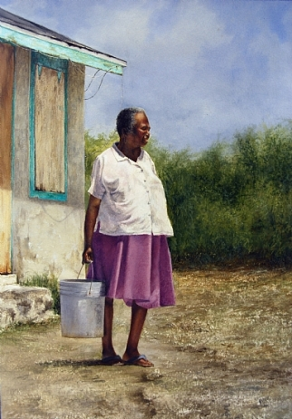 'Ms. Hanna' by Sheldon Saint. Watercolor on paper.