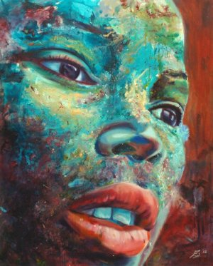 'Girl with the Thousand Yard Stare' by Esther Griffith. Oil on Canvas.