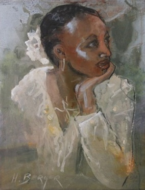 'Woman with Flowers in her Hair' (2009), watercolors on canvas by Heidi Berger