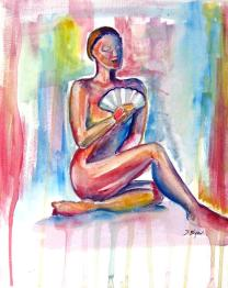'Woman with Fan' by Stacey Byer. Watercolor.